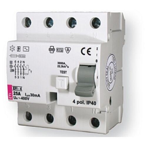 EFI-4A 25A 500mA áram-védőkapcsoló